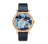 שעון יד מוזהב עם לוח אבני סברובסקי לנשים בצבע כחול