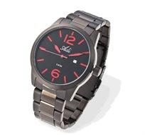שעון יד לגבר ADI עם רצועה מפלדת אל-חלד, תצוגת ספרות בצבע אדום וזכוכית עמידה בשריטות