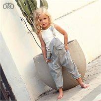 אוברול Oro לילדות (מידות 6 חודשים- 4 שנים) ג'ינס אפור - יוניסקס