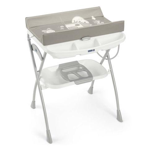 אמבטיה קשיחה מתקפלת עם משטח החתלה ומגש טיפולים תחתון - בז' 227