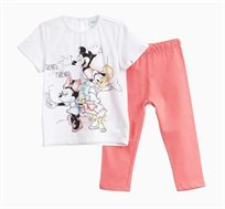 חליפה OVS לתינוקות וילדות - לבן וורוד עם הדפס מיקי מאוס ודונלד דאק