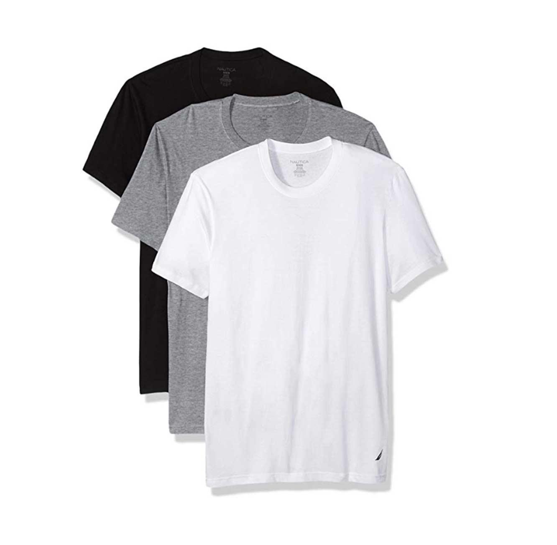 מארז 3 חולצות טי שרט צווארון עגול לגברים - שחור לבן ואפור