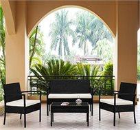 סט ריהוט גינה מראטן סינטטי איכותי הכולל שולחן פלטת זכוכית, זוג כורסאות וספה דו מושבית Homax