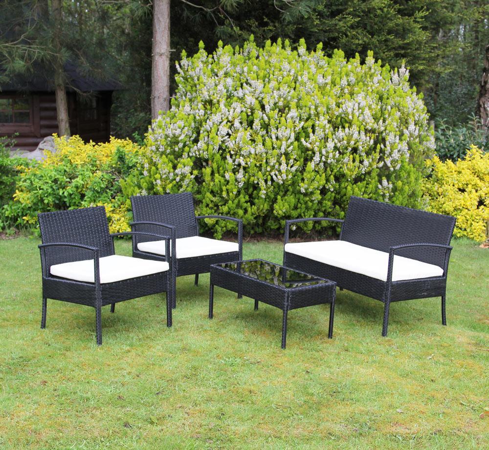 סט ריהוט גינה מראטן סינטטי איכותי הכולל שולחן פלטת זכוכית, זוג כורסאות וספה דו מושבית Homax - תמונה 5