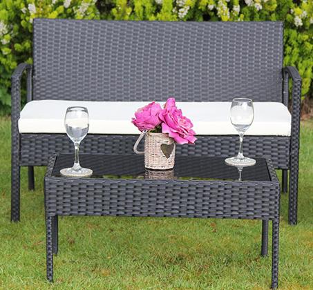 סט ריהוט גינה מראטן סינטטי איכותי הכולל שולחן פלטת זכוכית, זוג כורסאות וספה דו מושבית Homax - תמונה 3