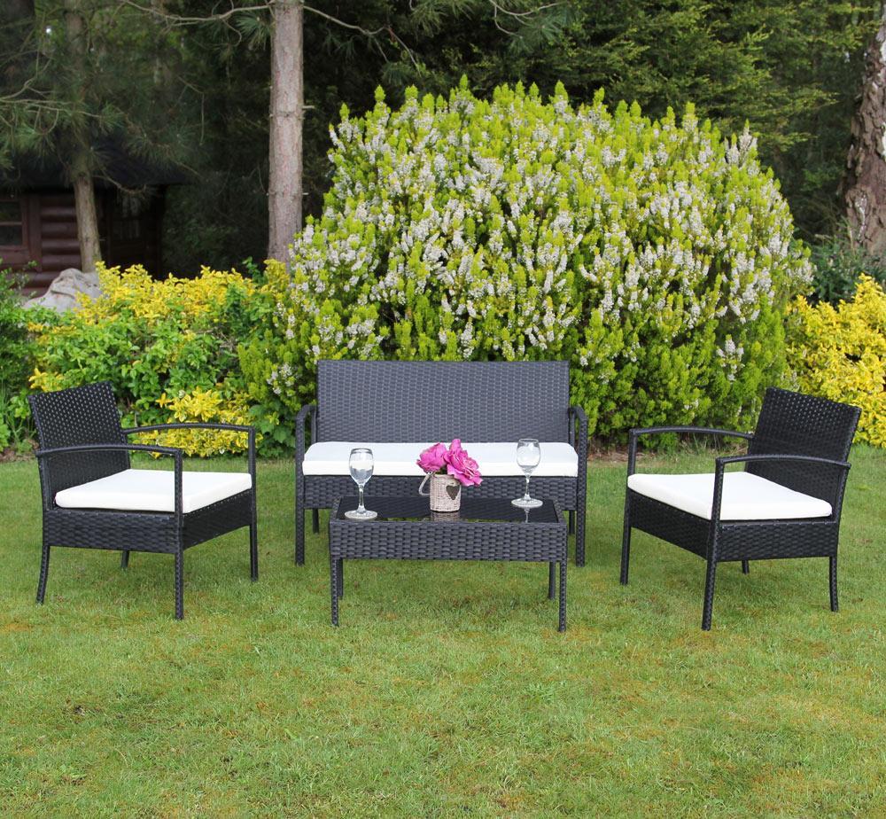 סט ריהוט גינה מראטן סינטטי איכותי הכולל שולחן פלטת זכוכית, זוג כורסאות וספה דו מושבית Homax - תמונה 4