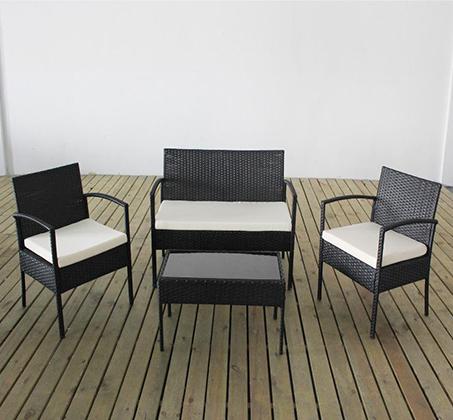 סט ריהוט גינה מראטן סינטטי איכותי הכולל שולחן פלטת זכוכית, זוג כורסאות וספה דו מושבית Homax - תמונה 2