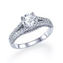 """טבעת אירוסין זהב לבן """"קטיה"""" 1.20 קראט בסגנון וינטאג"""