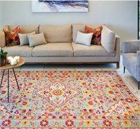 שטיח צמר בעבודת יד בעיצוב קיצי במגוון גדלים לבחירה
