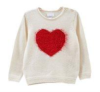 סוודר עם עיטור פאטץ בצורת לב לפעוטות בצבע לבן