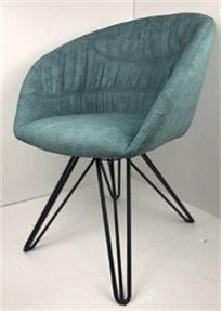 כסא מעוצב דגם אמילי מבד קטיפה איכותי צבע טורקיז רגליים שחורות