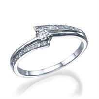 """טבעת אירוסין """"אלבינה"""" זהב לבן 0.41 קראט יהלומים"""