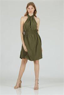 שמלה סאטן קולר ירוק - קקאו