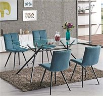 סט פינת אוכל מזכוכית כולל 4 כיסאות בעיצוב עכשווי