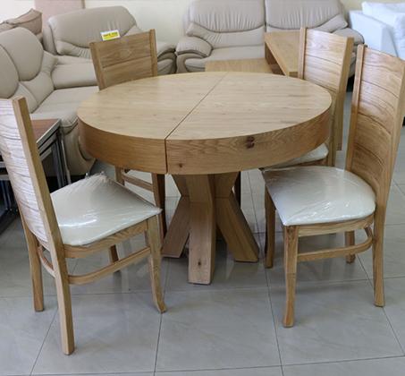סט שולחן אוכל עגול נפתח כולל ארבע כסאות מרופדים עשוים עץ אלון מבוקע - תמונה 2
