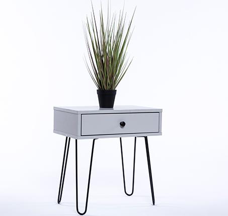 שידת לילה מעץ בעיצוב מודרני הכוללת מגירת אחסון  - תמונה 6