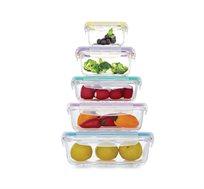 סט 5 קופסאות זכוכית גדלים שונים Food Appeal