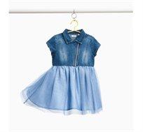 שמלת ג'ינס עם חצאית טול לילדות בצבע כחול
