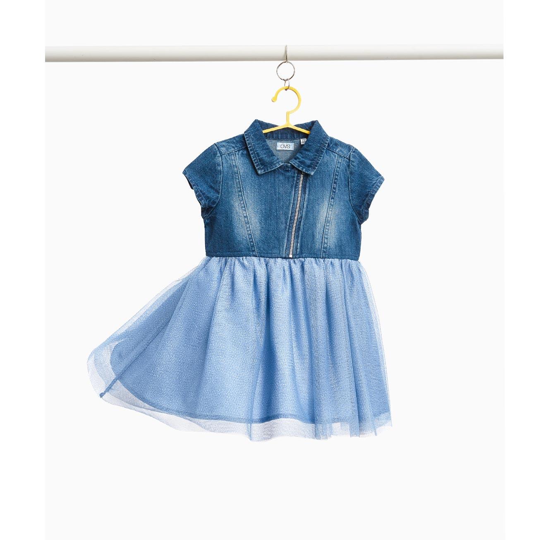 שמלת ג'ינס OVS עם חצאית טול לילדות - כחול