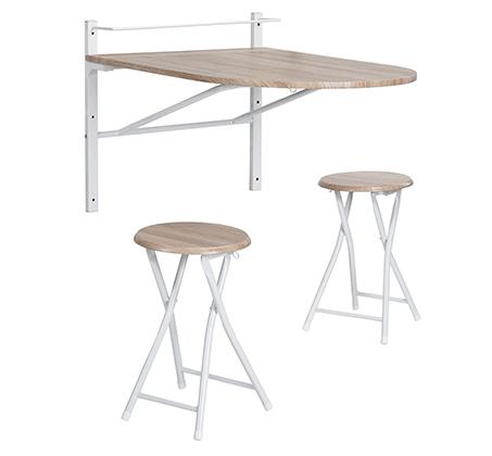 מגניב ביותר שולחן מתקפל נתלה על הקיר פלטת עץ + זוג כיסאות תואמים YI-99
