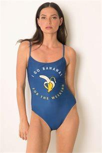 בגד ים שלם עם גב חשוף וכתפיות דקות - כחול מודפס
