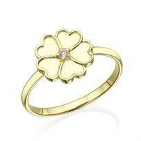 טבעת פרח משובצת יהלום