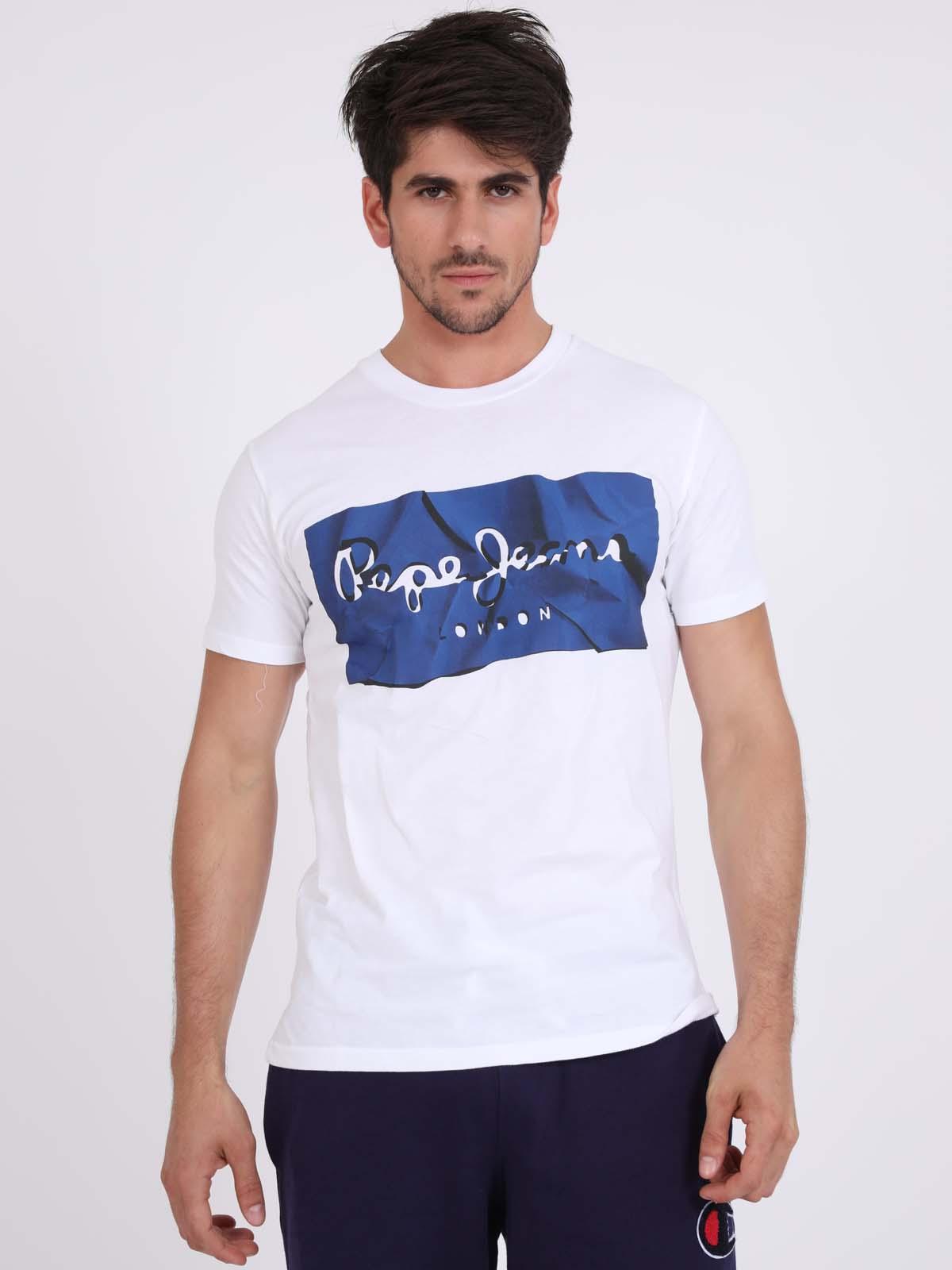 Pepe Jeans גברים - פרינט טי שרט כחול