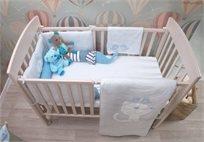 סט מצעים 3 חלקים למיטת תינוק 100% כותנה ג'רסי - כחול