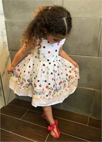 Ninell's/ שמלת  (6 חודשים-6 שנים) - לבן ציורים