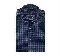 חולצה מכופתרת כחולה CLASSIC FIT משבצות לוגו כחול POLO RALPH LAUREN