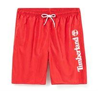 שורט בגד ים עם חגורת גומי Timberland לגברים בצבע אדום