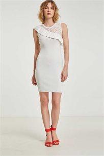 שמלת סריג קצרה MORGAN מעוטרת תחרה ומלמלה - אופוויט