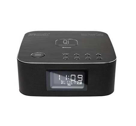 רמקול בלוטוס PURE ACOUSTICS עם רדיו שעון ומשטח טעינה אלחוטי Qi דגם Music Power Center