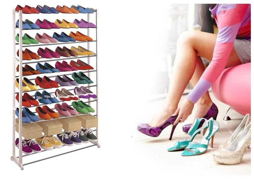 מעמד נעליים מודולרי שיעשה לכם סדר בחדר השינה, עם 10 מדפים המכיל עד כ-50 זוגות נעליים - תמונה 4