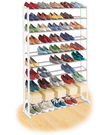 מעמד נעליים מודולרי שיעשה לכם סדר בחדר השינה, עם 10 מדפים המכיל עד כ-50 זוגות נעליים - תמונה 2