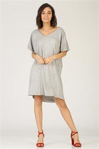 שמלה V סרוג - אפור - CUBiCA