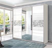 ארון הזזה 3 דלתות עם דלת מראה דגם רימון לבן