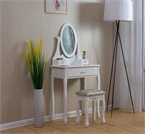 שולחן איפור בעיצוב פרובנס כולל מראה וכיסא תואם