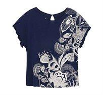 חולצה קצרה בהדפס פרחוני לנשים Desigual דגם Cherokees בצבע כחול כהה/לבן