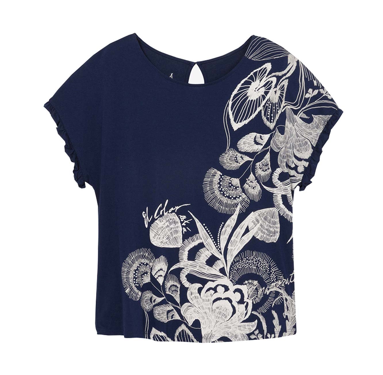 חולצה קצרה בהדפס פרחוני Cherokees לנשים - כחול כהה/לבן