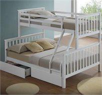 מיטת קומותיים מעץ מלא כולל מזרנים + 2 מגירות איחסון  Tailer