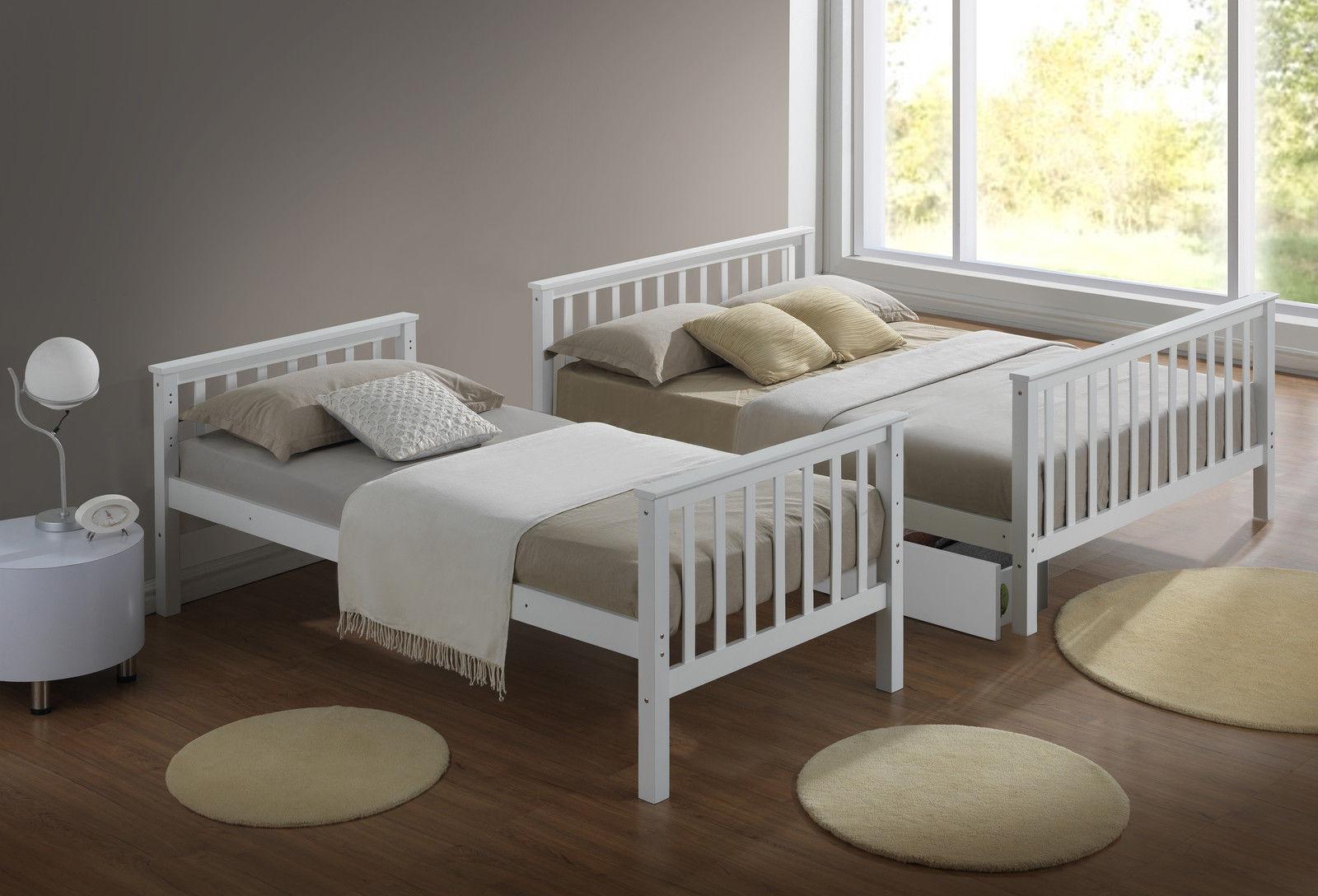 מיטת קומותיים מעץ מלא כולל מזרנים + 2 מגירות איחסון  Tailer - תמונה 3