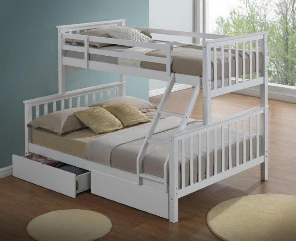 מיטת קומותיים מעץ מלא כולל מזרנים Tailer