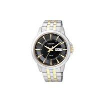 שעון יד אלגנטי לגבר CITIZEN עשוי פלדת אל חלד בעיצוב משולב כסף וזהב ורצועה עשויה עור