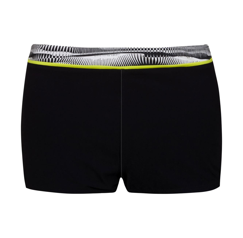מכנסון מקולקציית FREE BY GOTTEX - שחור עם פס גרפיקה שחור לבן וקו ניאון לימוני