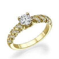 טבעת יהלומים זהב צהוב מקולקציית הוינטאג' הייחודית