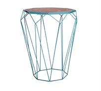 שולחן צד בעיצוב מודרני גאומטרי לסלון או למשרד עשוי מתכת עם משטח עליון מעץ U DESIGN