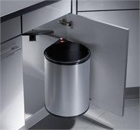 פח אשפה למטבח הנשלף עם פתיחת הדלת בנפח 15 ליטר בצבע כסוף HAILO