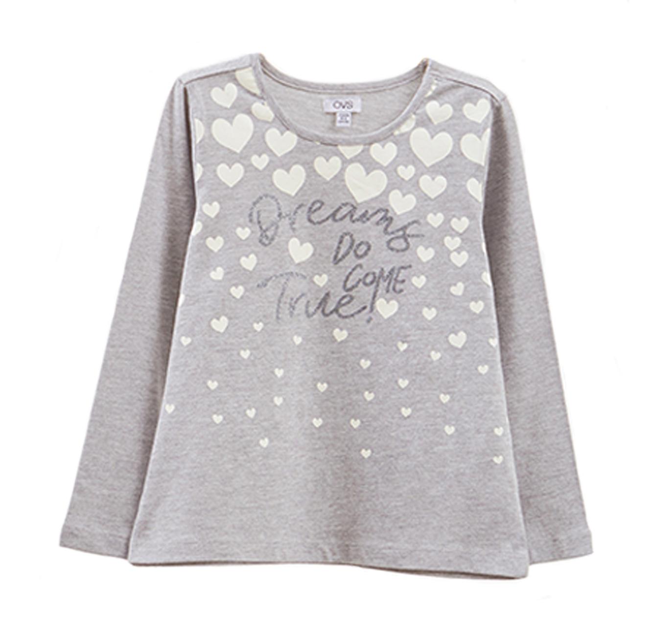 חולצת OVS לילדות - אפור עם הדפס לבבות