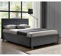 מיטה זוגית בריפוד בד אריג דגם עופרה עם בסיס עץ מלא דגם עופרה HOME DECOR